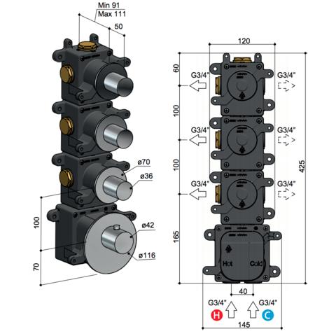 Hotbath Mate MHR3 High Flow thermostaat met 3 stopkranen geborsteld nikkel