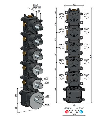Hotbath Mate MHR5 High Flow thermostaat met 5 stopkranen geborsteld nikkel