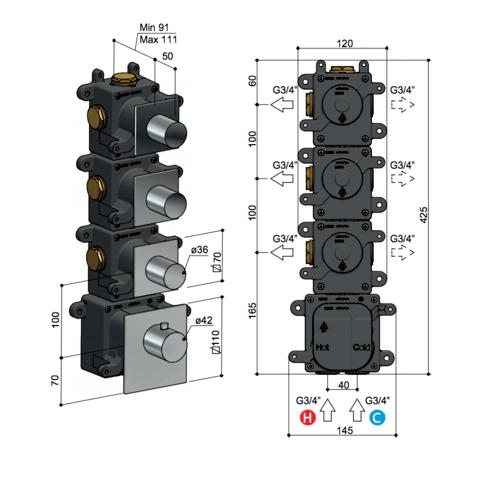 Hotbath Mate MHRQ3 High Flow thermostaat met 3 stopkranen chroom