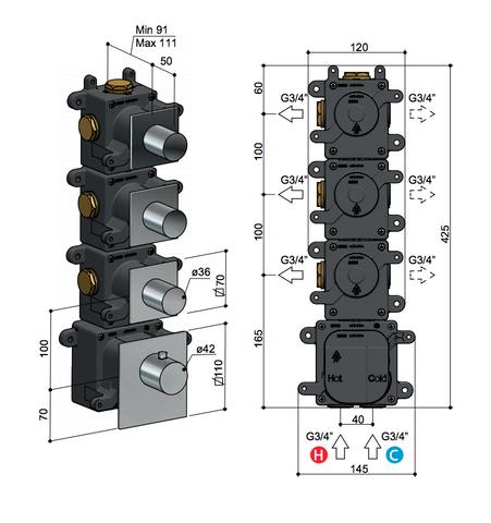 Hotbath Mate MHRQ3 High Flow thermostaat met 3 stopkranen geborsteld nikkel