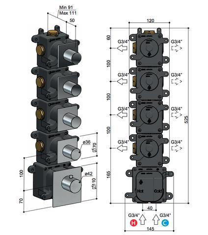 Hotbath Mate MHRQ4 High Flow thermostaat met 4 stopkranen chroom