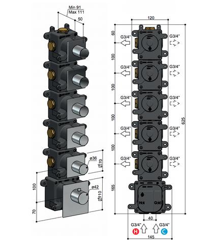 Hotbath Mate MHRQ5 High Flow thermostaat met 5 stopkranen chroom
