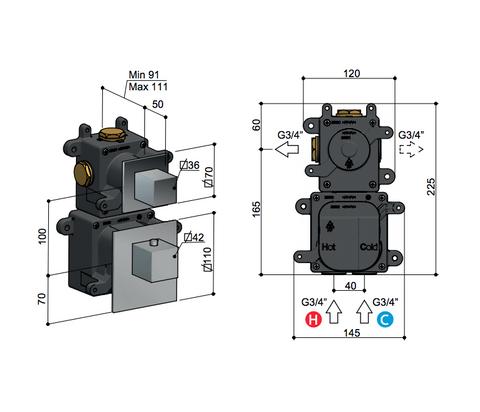 Hotbath Mate MHQ1 High Flow thermostaat met 1 stopkraan geborsteld nikkel