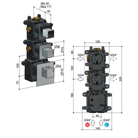 Hotbath Mate MHQ2 High Flow thermostaat met 2 stopkranen geborsteld nikkel