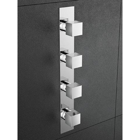 Hotbath Bloke Q050 inbouw douchethermostaat met 3 stopkranen (verticale plaatsing) chroom