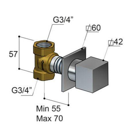 Hotbath Bloke Q068 inbouw stopkraan geborsteld nikkel