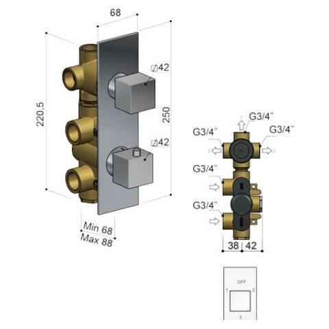 Hotbath Bloke Q052 inbouw thermostaat met 3-weg omstel geborsteld nikkel