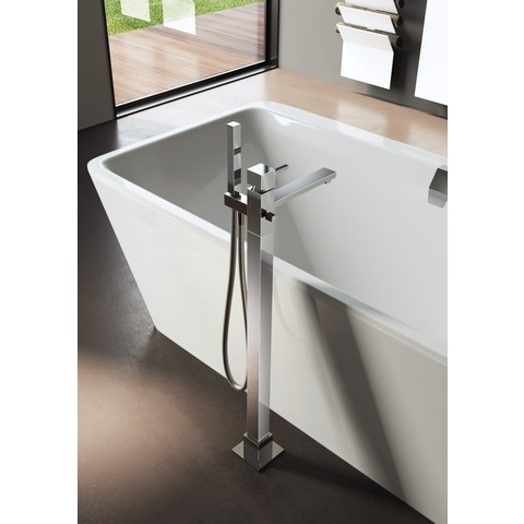 Hotbath Bloke Q077 vrijstaande badmengkraan geborsteld nikkel