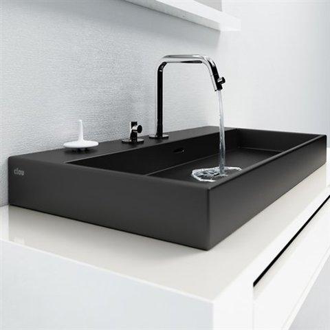 Clou Wash Me wastafel 50 cm mat-zwart keramiek