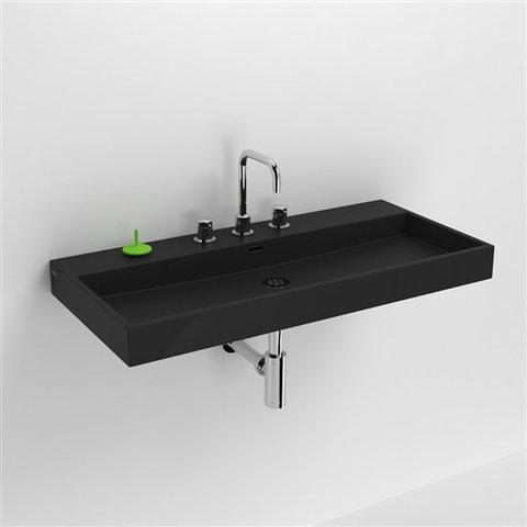 Clou Wash Me wastafel 90 cm mat-zwart keramiek