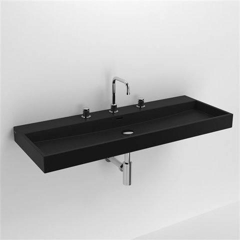 Clou Wash Me wastafel 110 cm mat-zwart keramiek