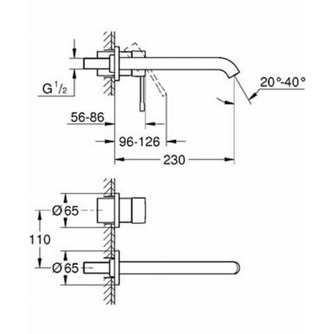 Grohe Essence inbouw wastafelkraan 23cm zonder inbouwdeel supersteel