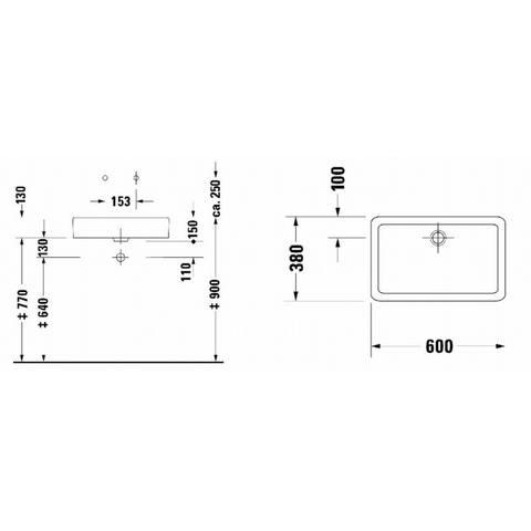 Duravit Vero opzetwastafel 60x38cm - zonder kraangat - zonder overloop - geslepen