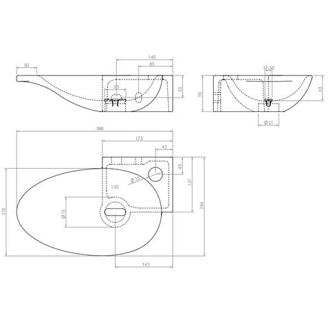 Clou First hoekfontein 38,8 cm - kraangat rechts - keramiek