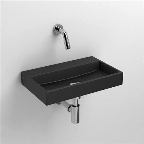 Clou Mini Wash Me fontein 38cm mat zwart keramiek zonder kraangat