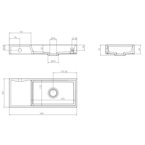 Clou Mini Wash Me fontein 45cm zonder kraangat - links - mat zwart keramiek