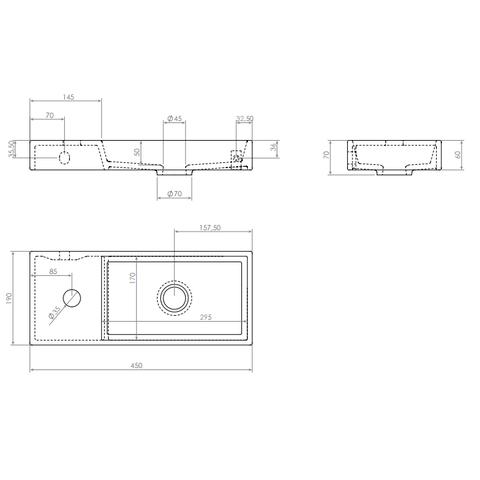Clou Mini Wash Me fontein 45cm met kraangat - links - mat zwart keramiek