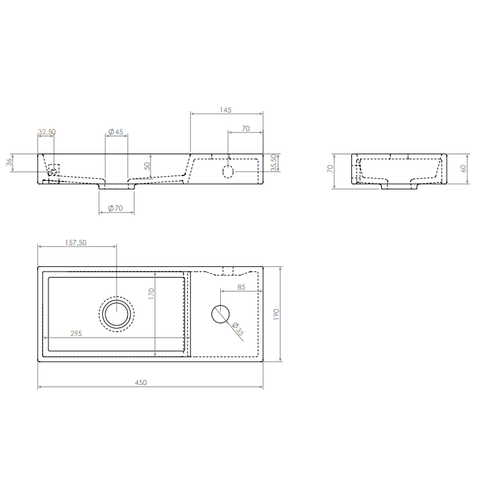 Clou Mini Wash Me fontein 45cm met kraangat - rechts - mat zwart keramiek