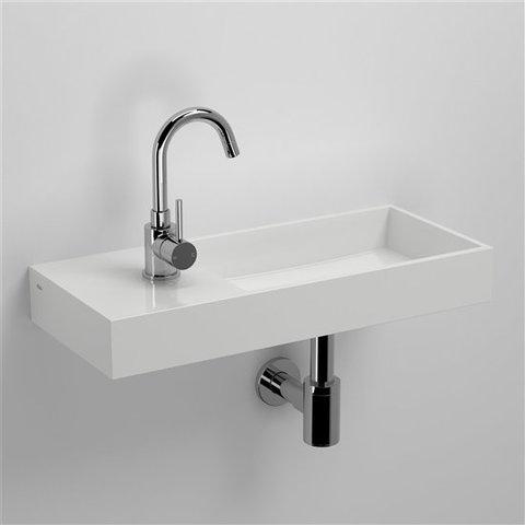 Clou Mini Wash Me Plus fontein 56cm zonder kraangat links, mineraalmarmer