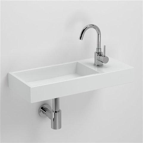 Clou Mini Wash Me Plus fontein 56cm met kraangat rechts, wit keramiek