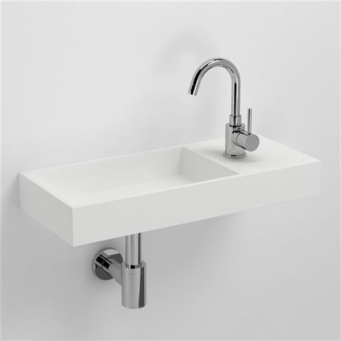 Clou Mini Wash Me Plus fontein 56cm zonder kraangat rechts, aluite