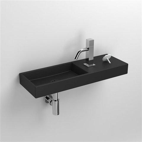 Clou Mini Wash Me fontein 56cm - met kraangat rechts - mat zwart keramiek