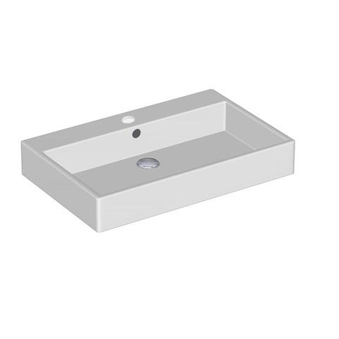 Blinq Tutto meubelwastafel 70x45 cm. 1x kr.gat m/overloop wit