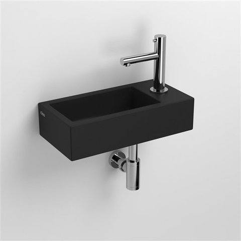 Clou Flush 3 toiletfontein met kraangat rechts mat zwart keramiek