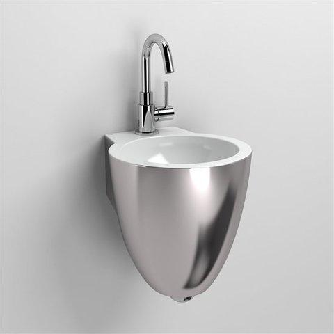 Clou Flush 6 toiletfontein met kraangat platina/wit keramiek