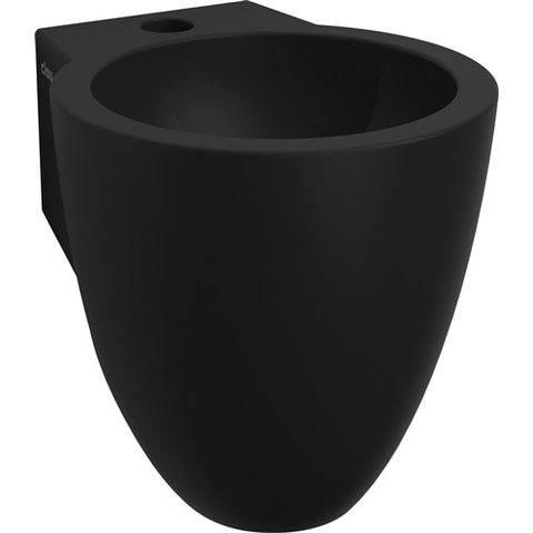 Clou Flush 6 toiletfontein met kraangat mat zwart keramiek