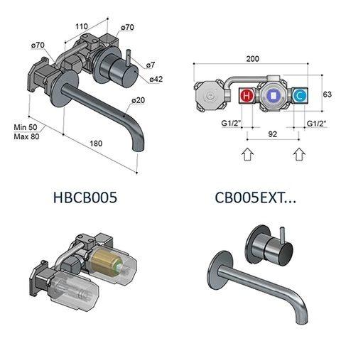Hotbath Cobber HBCB005 inbouwdeel voor CB005 inbouw wastafelkraan