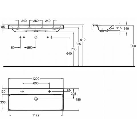 Geberit Xeno2 wastafel 120cm 2 kraangaten zonder overloop wit