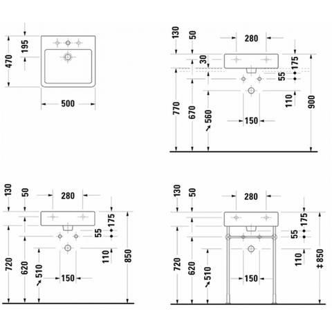 Duravit Vero wastafel 50cm - met 1 kraangat - met overloop - onderkant geslepen - wit