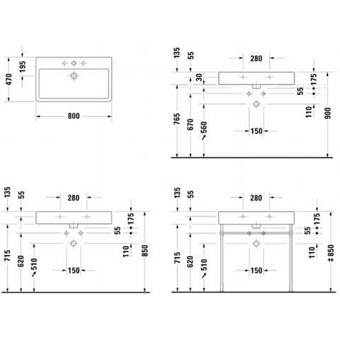 Duravit Vero wastafel 80 cm - met 1 kraangat - met overloop - onderkant geslepen - wit