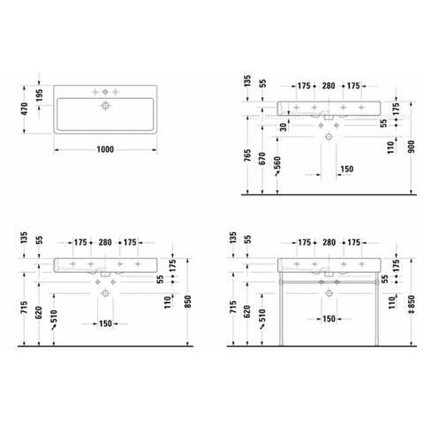 Duravit Vero wastafel 100cm - met 2 kraangaten - met overloop - onderkant geslepen - wit