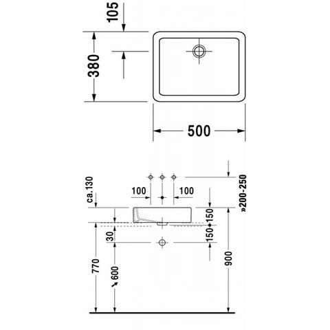Duravit Vero opzetwastafel 50x38cm - zonder kraangat - zonder overloop - geslepen