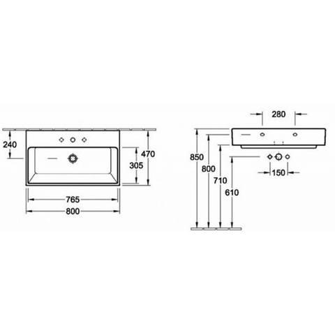 Villeroy & Boch Memento wastafel 80x47cm 1 kraangat met overloop wit