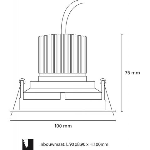 Blinq Lecco inbouw LED spot 90x90 mm vierkant wit