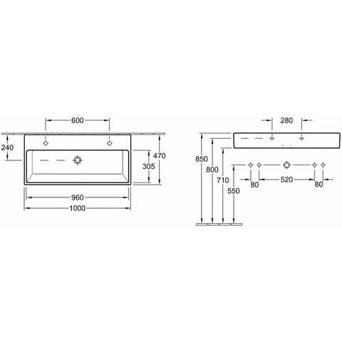 Villeroy & Boch Memento wastafel 100x47 cm met 2 kraangaten zonder overloop wit