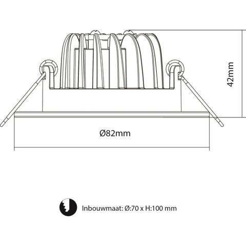 Blinq Piato inbouw LED spot 70 mm rond zwart
