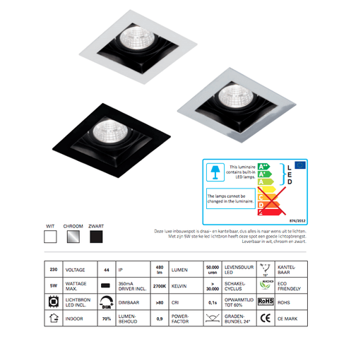 Blinq Cantello inbouw LED spot 90x90 mm vierkant wit