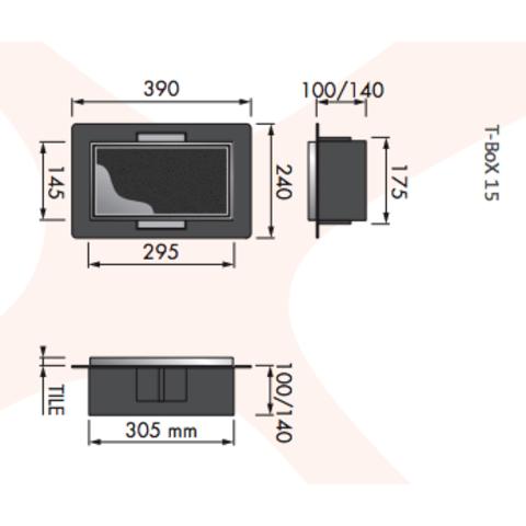 Looox T-BoX inbouw nis 15x30x14 cm. betegelbaar antraciet