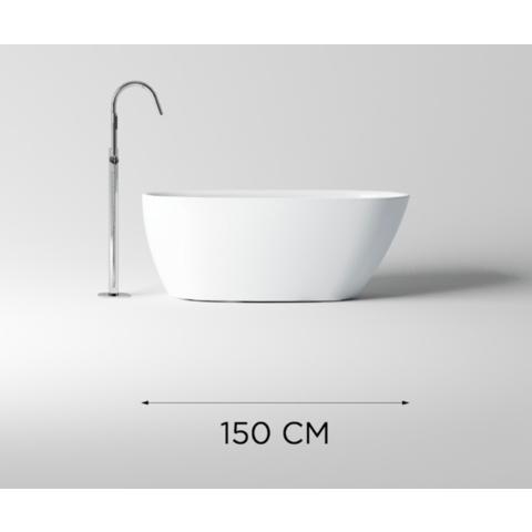 Clou InBe vrijstaand ligbad 150x73cm met overloop wit