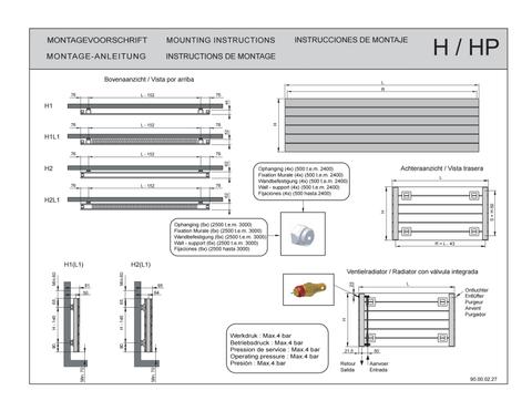 Vasco Viola H2-Ro radiator 1100x433 mm. n12 as=0027 906w wit ral 9016