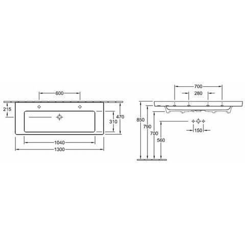 Villeroy & Boch Subway 2.0 meubelwastafel 130cm 2 kraangaten met overloop