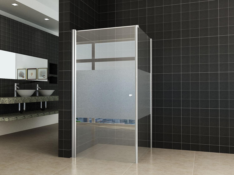 Douchecabine Mat Glas.Wiesbaden Partly Douchecabine 120x93 5cm Links Met Gedeeltelijk Matglas