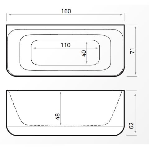 Xenz Guido halfvrijstaand bad 160 x 71 cm wit Solid Surface