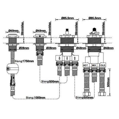 Wiesbaden Caral badrandkraan combinatie rond met inbouwdeel, geborsteld staal