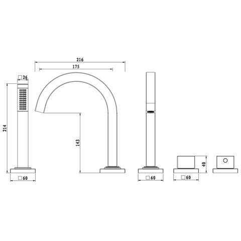 Wiesbaden Rombo badrandkraan combinatie vierkant met inbouwdeel, chroom