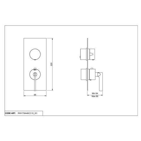 vtwonen Baden Grip 2weg douchethermostaat met inbouwdeel chrome
